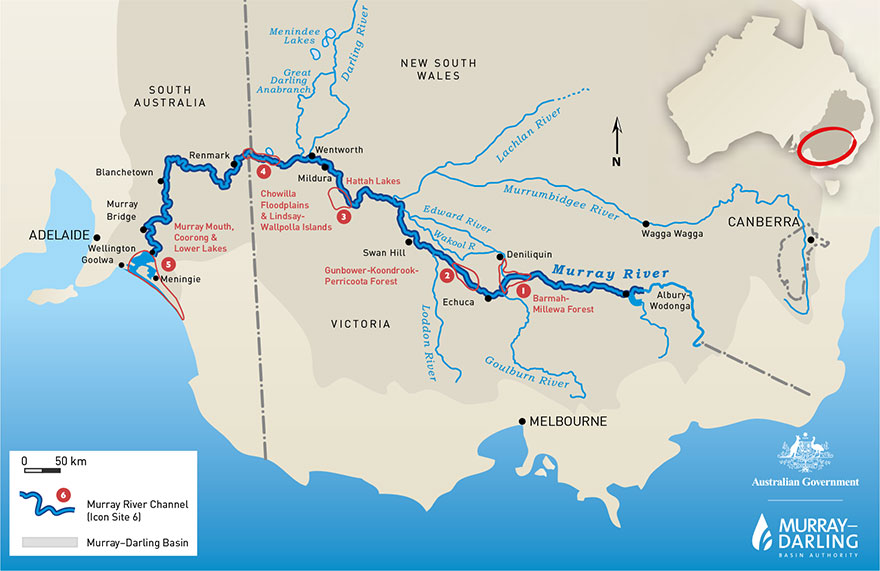 AUstralian Government map of the Murray River